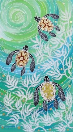 Aboriginal Art Animals, Aboriginal Dot Painting, Aboriginal Artists, Dot Art Painting, Aboriginal Tattoo, Encaustic Painting, Indigenous Australian Art, Indigenous Art, Sea Turtle Art