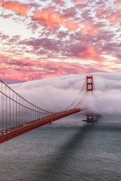 Fog blankets the #GoldenGateBridge in the midst of a beautiful sky.