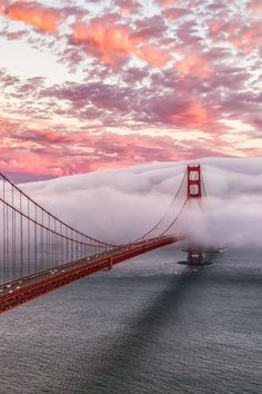 Fog blankets the #GoldenGateBridge in the midst of a beautiful sky.