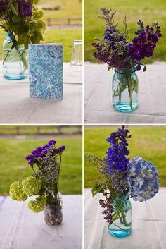 mason jars with stock and delphinium