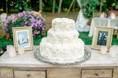 Classic white cake with roses. Secret Garden themed real Michigan wedding.  Image by Pasha Belman // www.pashabelman.com