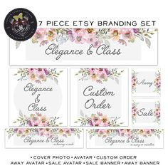 Welcome to Jupiter Street Designs! Premade sets are a great inexpensive way to add a professional touch to your business. This 7 Piece Set comes with.... 1. Etsy cover photo (the large 3360 x 840 size) 2. Etsy Avatar - also works great as a shop icon, facebook pic and instagram