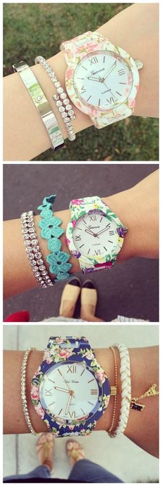 New Arrival Fashion Brand Geneva Women Dress Watches,priting Flower Watchband Lady Quartz Bracelet Wristwatches