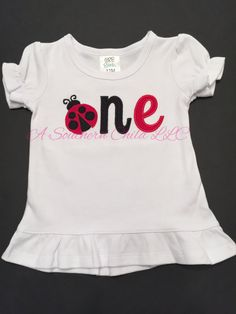 Monogrammed Lady Bug First Birthday Ruffle by ASouthernChildLLC