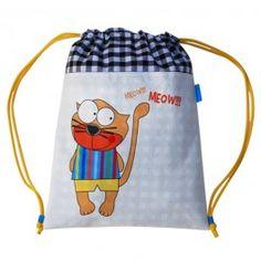 Mochila divertida para niño y niña hecha a mano con tela de algodón de la marca Micu Macu.