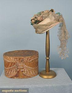 WEDDING BONNET & ORIGINAL WALLPAPER BOX, 1869