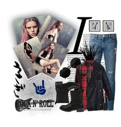 """Rock 'n' roll style \m/"" by kadric-609 ❤ liked on Polyvore featuring Frame Denim, Versace, 0039 Italy, Buffalo, NARS Cosmetics, outfit, for, rock, girl and redandblack"