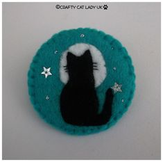 Felt Cat and Moon brooch pin Cat gift  Handmade felt brooch