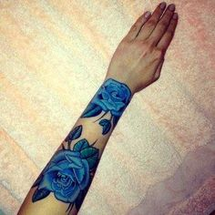 A twist on the classic, lovely blue roses.