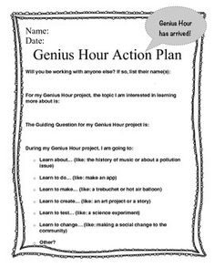 Genius Hour Action Plan by Toadally.TeacherHave you experienced Genius Hour with your students? It is an amazing experience that once you try it, you will be sure to include each year. Also known as Passion Projects or 20% Time, Genius Hour gives students the opportunity to create their own learning, to follow their passions and explore their genius.This Action Plan will help students think about their project  deciding on a partner, explaining their topic to the teacher, developing a…