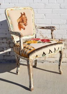 Smaller (almost-child-sized) Navajo Needlepoint Horse Arm Chair Western Furniture, Painted Furniture, Diy Furniture, Rustic Furniture, Cabin Furniture, Western Style, Anthropologie Home, Equestrian Decor, D House