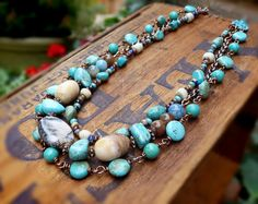 Outback Turquoise triple strand beaded necklace by freerangeart, $41.50