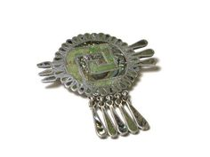 Vintage Large Sterling Silver Abalone Shell Brooch Pin and Pendant - Mexico - Weight Grams - Boho - Mexican Brooch # 1053 Heart Button, Green Button, Abalone Shell, Brooch Pin, 30th, Shells, Sterling Silver, Pendant, Mexico