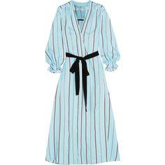 Maje Radeau jacquard maxi dress ($405) ❤ liked on Polyvore featuring dresses, blue, jacquard dress, blue jacquard dress, multi-color dress, multi colored maxi dress and multicolored dress