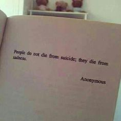 'People do not die from suicide; they die from sadness.'