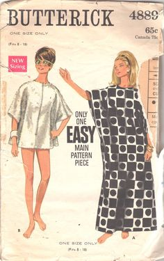 1960s Butterick 4889 Misses Easy Zip Front Cover Up by mbchills