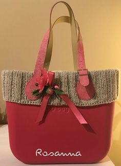 "bordo a maglia per borsa ""O BAG"" Anna, Diy, Inspiration, Design, Feltro, African Flowers, Women's Handbags, Leather, Pictures"