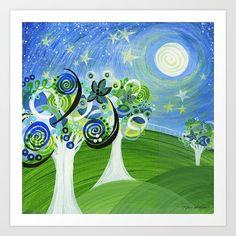 Summer Starry Night Artist Signed Print Stars Moon by Inspireuart, #stars #art #print ##nursery #trees #moonlight #homedecor #blue #green