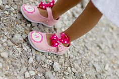 diy Personalized shoes for girls - Pink, personalized and sparkley hand painted pink shoes for baby - toddler with bows and flowers. $26.50, via Etsy.
