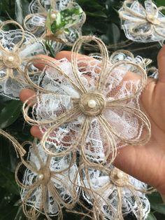 Twine Flowers, Paper Flowers Diy, Cloth Flowers, Faux Flowers, Handmade Flowers, Flower Crafts, Fabric Flowers, Metal Flowers, Burlap Lace