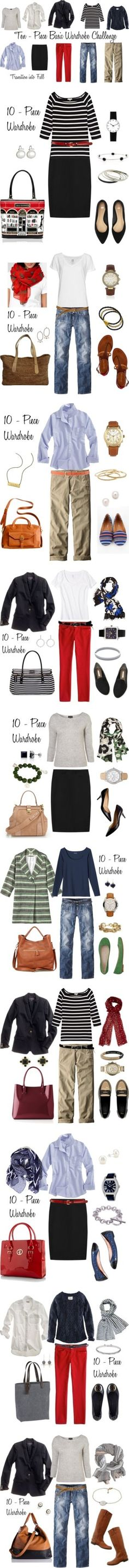 """""""Looks from the 10 - Piece Wardrobe Challenge"""" by bluehydrangea ❤ liked on Polyvore 