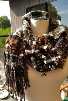 Saori style scarf includes hand spun and mill spun yarns