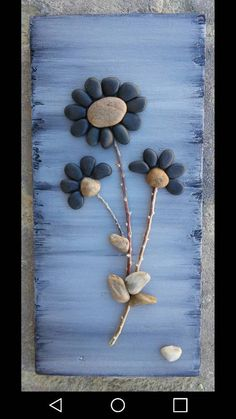 Crafts With Twigs Original pebble/rock art (beautiful bouquet of black flowers) handmade/reclaimed wood by CrawfordBunch on Etsy Stone Crafts, Rock Crafts, Arts And Crafts, Diy Crafts, Decor Crafts, Nature Crafts, Beach Rocks Crafts, Crafts With Rocks, Wooden Crafts