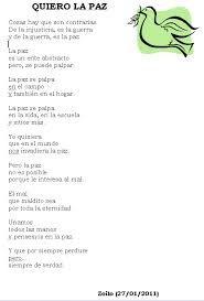 Resultado de imagen de poesias para la paz primaria