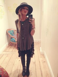 Thrifted Wide Brim Hat, Free People Layring Top, Free People Voile And Lace Trapeze Slip, Jeffrey Campbell Joe Lace Up Boots, Michael Kors Watch