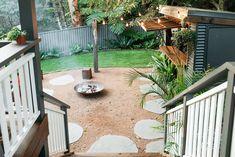 Firewood storage: I ronbark Small Garden Landscape Design, Tropical Garden Design, Outdoor Rooms, Outdoor Living, Balustrade Design, Sunken Fire Pits, Recycled Brick, Australian Native Garden, Rustic Fire Pits