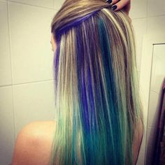 Different colored hair greens, blues, purples, yellow