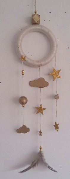 Gold and cream stars and clouds dream catcher for nursery