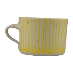 Exclusive Roots Yellow Stripes Squat Mug: Yellow stripes squat mug. Due to the handcrafted nature of this product, each piece is completely unique and may vary slightly in size, shape and colour.