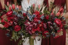 Burgundy and dusty blue wedding bouquets | Image by Jimmy Raper Photography