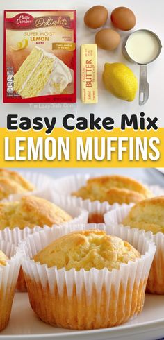 Cake Mix Desserts, Easy Desserts, Delicious Desserts, Baking Desserts, Baking Recipes, Cake Mix Muffins, Lemon Muffins, Jumbo Muffins, Coffee Cake Muffins