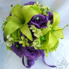 Purple and green bouquet.