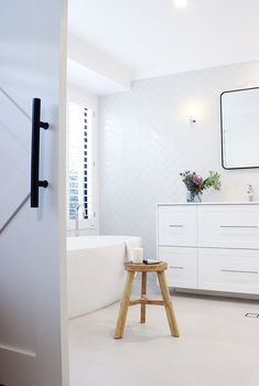 Contemporary luxe renovation with barn door feature Bathroom Showrooms, Bathroom Renos, Laundry In Bathroom, Bathroom Renovations, Bathroom Interior, Bathroom Goals, Bathroom Organisation, Bathroom Inspo, Bathroom Ideas