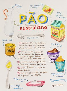 receita de pão australiano toda ilustrada, muito fofo! - {australian bread recipe illustrated, super cute!}