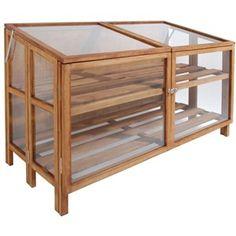 Esschert Design 80 x 119 x Wood/ Glass Greenhouse- Brown Esschert Design, Small Greenhouse, Indoor Greenhouse, Greenhouse Plans, Lean To, Old Windows, Wood Glass, Home Living, Living Room