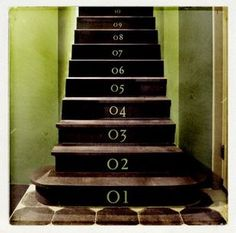 Numbered staircase well done! Perfect for coming up from a basement!