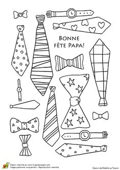 Des cravates et accessoires pour papa, à colorier et à lui offrir Fathers Day Crafts, Happy Fathers Day, Father's Day Activities, Quiet Book Templates, Mother And Father, Scrapbook Paper Crafts, Diy Crafts For Kids, Baby Boy Shower, Kids And Parenting