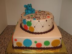 Cute as a Button baby shower cake design.  Fondant elephant.