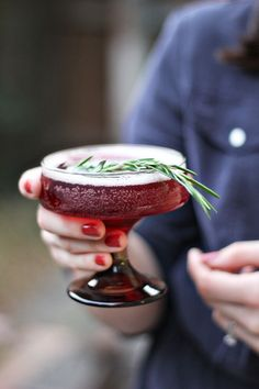 Rosemary Infused Holiday Cocktail - Rosemary Simple Syrup (Recipe), Cranberry Grape Juice, Prosecco, Vodka.