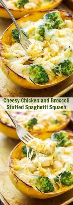 Spaghetti Squash stuffed with a creamy, cheesy, chicken and broccoli filling and topped with more melted cheese! This Cheesy Chicken and Broccoli Stuffed Spaghetti Squash makes a great gluten free, low carb comfort food dinner! Low Carb Recipes, Diet Recipes, Cooking Recipes, Recipes Dinner, Recipies, Pasta Recipes, Casserole Recipes, Recipe Pasta, Cooking Tips
