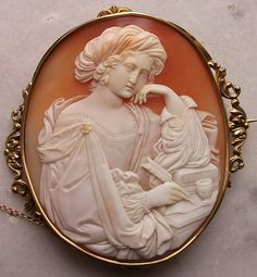 Victorian Shell Cameo Brooch - Pensive Woman - soooo unique!