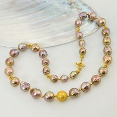 NECKLACE solid 22K GOLD with Multicolor Kasumi Pearls China & Genuine Diamonds