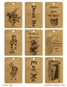 Here are some free vintage Alice in Wonderland printable tags made from illustrations and quotes from the classic book. I hope you enjoy! (Alice In Wonderland Diy Costume) Mad Hatter Party, Mad Hatter Tea, We All Mad Here, Alice In Wonderland Birthday, Alice In Wonderland Printables, Alice In Wonderland Crafts, Alice In Wonderland Steampunk, Alice In Wonderland Vintage, Alive In Wonderland Quotes