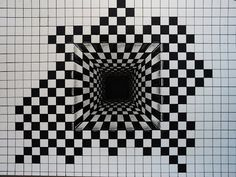 How to draw - illusion, hole in the chess pattern - shortened - Cómo dibu . - How to draw – illusion, hole in the chess pattern – shortened – Cómo dibujar una ilusión - Optical Illusions Drawings, Illusion Drawings, Art Optical, Optical Illusion Art, Illusions Mind, How To Draw Illusions, Graph Paper Drawings, Graph Paper Art, Art Drawings Sketches