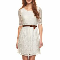 by 3/4-Sleeve Belted Lace Dress - jcpenney......Actually Bought this today!!!!