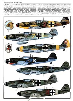 Messerschmitt Bf 109 as flown by the Axis allies Ww2 Aircraft, Fighter Aircraft, Military Aircraft, Fighter Jets, Luftwaffe, Me 109, Military Drawings, Old Planes, Focke Wulf
